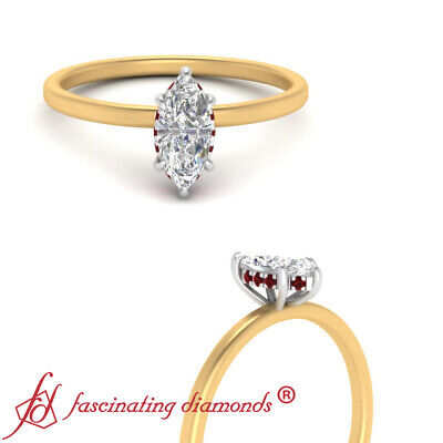Petite Shank Under Halo Wedding Ring With 0.75 Ctw Marquise Cut Diamond And Ruby