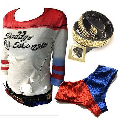 Harley Quinn T-Shirt Gürtel Pailletten Unterwäsche Shorts Suicide - Harley Quinn T Shirt Kostüm