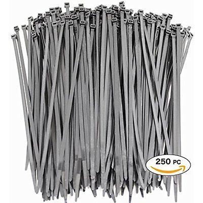250 Premium Heavy Duty 10 Inch Zip Ties | Black Nylon Cable