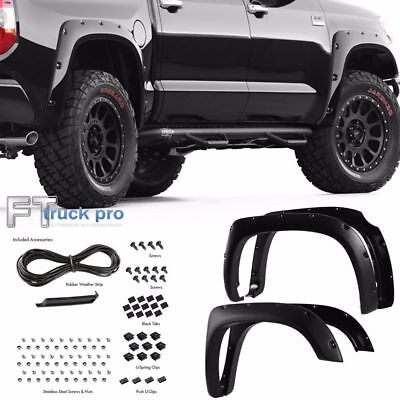 [TEXTURED] 14-17 Toyota Tundra Pocket Riveted Fender Flares Wheel Cover BLACK