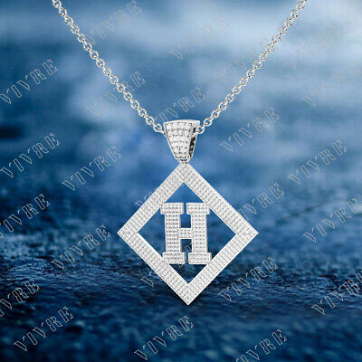 """H"" Initial Letter Charm Pendant Necklaces Real 10k White Gold 1.50 Ct Diamond"