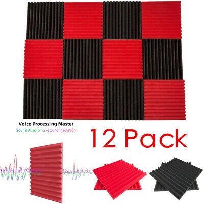 "12 Pack Acoustic Foam Panel Wedge Studio Soundproofing 1"" X 12"" X 12"" Wall Tiles"
