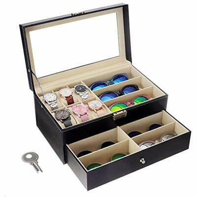 Leather Watch Box And Sunglass Glasses Case Organizer Jewelry Display (Sunglasses And Watch Organizer)