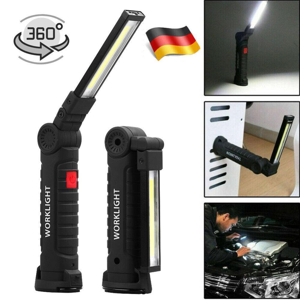 COB-LED Stab Leuchte KFZ Arbeit Werkstatt Taschen Lampe Akku Magnet  Handlampe