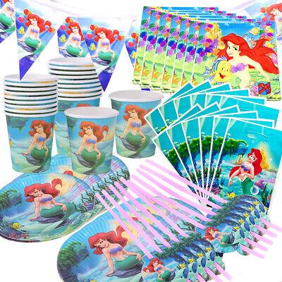 Disney Princess Party Tableware (Little Mermaid Birthday Party Ariel Disney Princess Party Supplies Tableware)