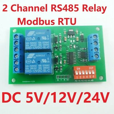 Dc 5v12v24v 2ch Rs485 Relay Modbus Rtu At Command Plc Switch Module Led Motor