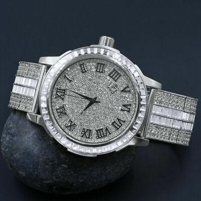 Roman Dial White Gold Tone Solid Steel Solitaire Bezel Baguette Adjustable Watch Gold Tone Solitaire