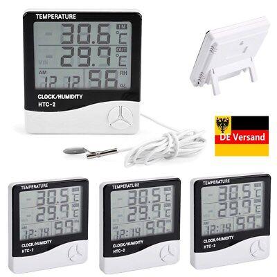 4X Digital Thermometer Hygrometer Luftfeuchtigkeitsmesser Alarm Uhr Innen Außen