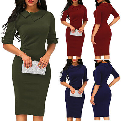 Fashion Womens Office Lady Formal Business Work Party Sheath Tunic Pencil Dress - Fashion Party