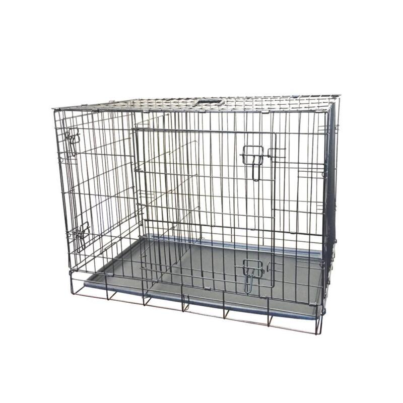 Large Folding Wire Dog Crate w/ Bottom Tray 2 Door Pet Cage