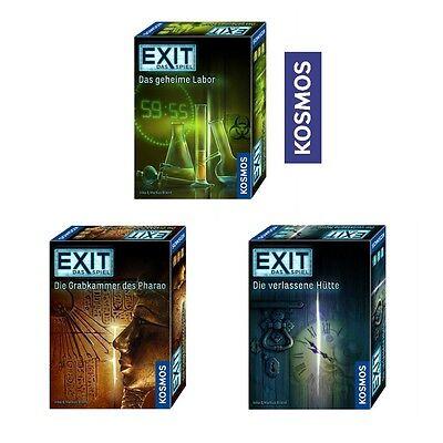 Kosmos-EXIT Spieleserie-Die verlassene Hütte-Grabkammer-Das geheime Labor Spiel