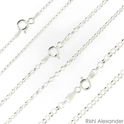 925 Sterling Silver Rolo Link Chain Necklace .925 Italy All -