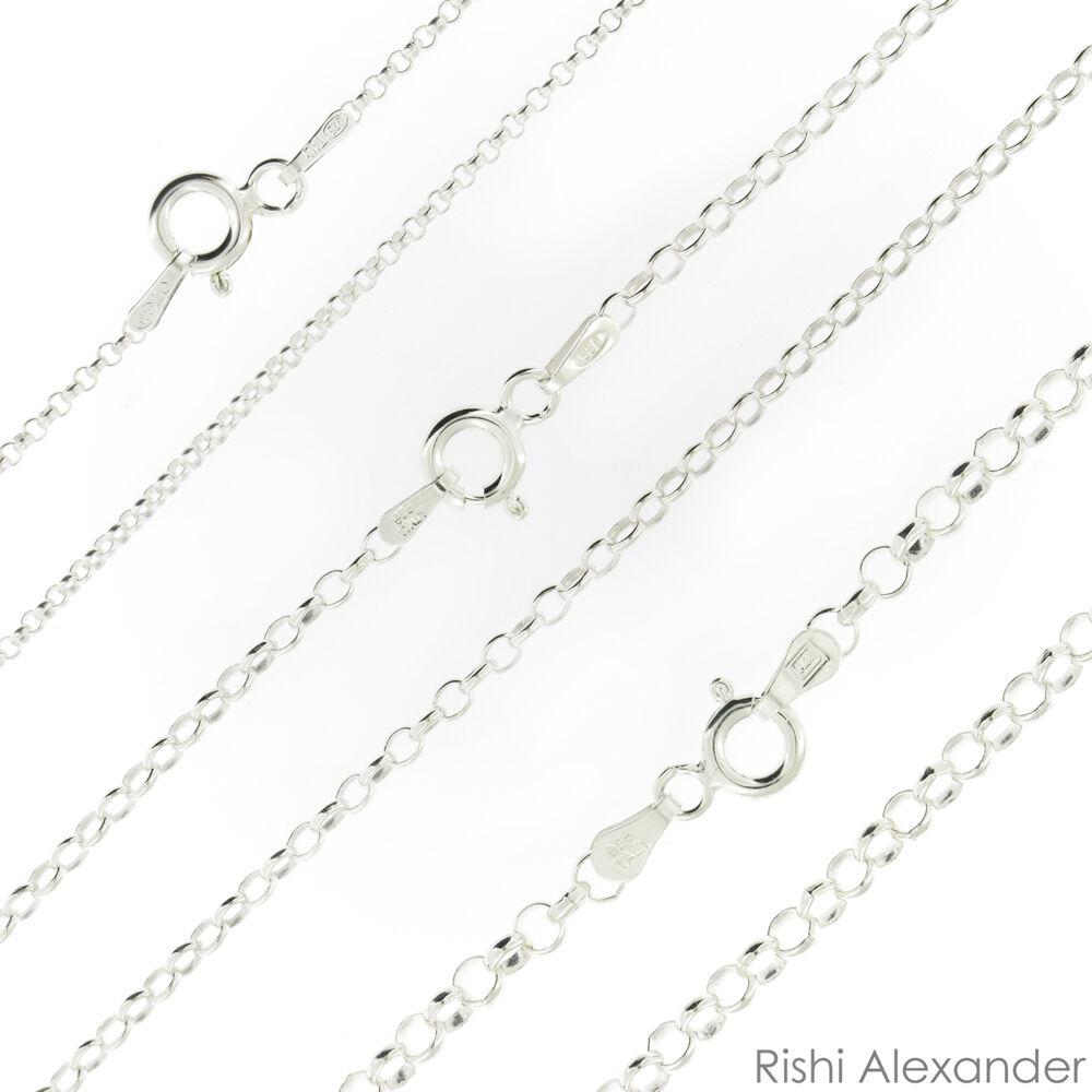 925 Sterling Silver Rolo Link Chain Necklace .925 Italy All Sizes