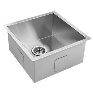 Handmade Stainless Steel Kitchen Laundry Sink Undermount Topmount 440 x 440 mm