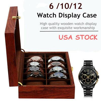 Watch Box 6/10/12 Slots Watch Case Watch Organizer Holder Display Storage Case