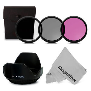 58mm 3PC Filter Kit UV FLD CPL + Lens Hood for Canon Rebel T3i T2i T1i XS Xsi