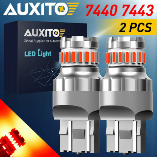 2X AUXITO 7440 7443 Red Flash Alert Brake Tail Stop Light High power LED Bulbs