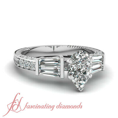 1.85 Ct Pear Shaped Diamond Engraved Engagement Ring Pave Set In White Gold GIA