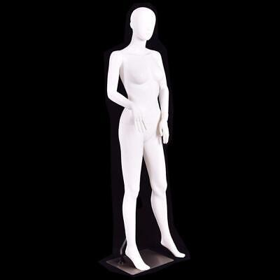 5.8 Ft Female Mannequin Plastic Full Body Dress Form Display W Base White