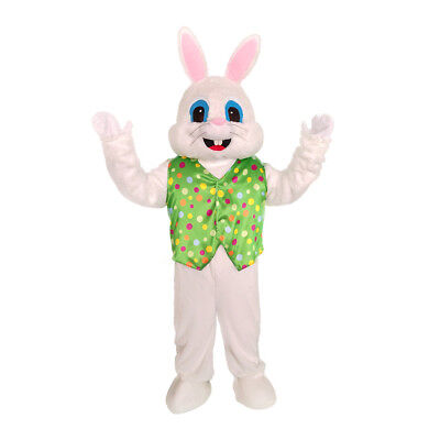 Plush Halloween Easter Bunny Mascot Costume Green Vest  Mask Adult Rabbit (Adult Bunny Halloween Costumes)