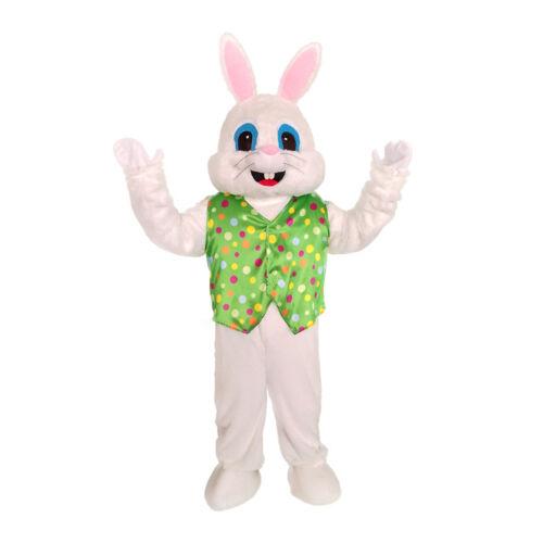 Plush Halloween Easter Bunny Mascot Costume Green Vest  Mask