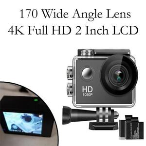NEW 170 Wide Angle Lens 4K Full HD 2 Inch LCD 98Ft Waterproof Screen Action Camera with 2 Rechargeable Batteries and ...