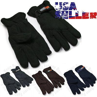 Mens Winter Warm Gloves Insulated Thermal Mitten Ski Snow Fleece Outdoor Sports ()