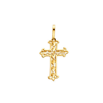 14kt Yellow Gold Lady/'s Diamond Cross CharmPendant with Diamond Cut Accents at an Incredible Price.