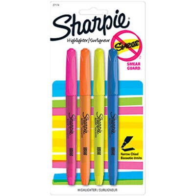 New Sharpie Smear Guard Pink Orange Yellow And Blue Highlighters