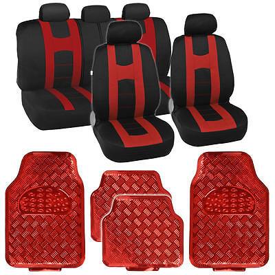 Black/Red Sport Stripe Seat Covers Full Set w/ Shiny Metallic Red Floor Mats
