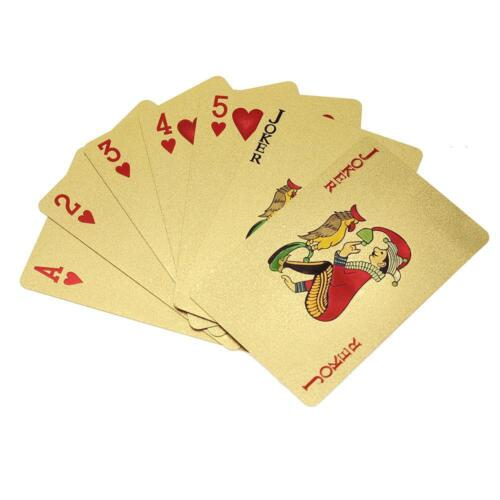 Stylish Waterproof 24k Gold Foil Plated Cover Poker 54