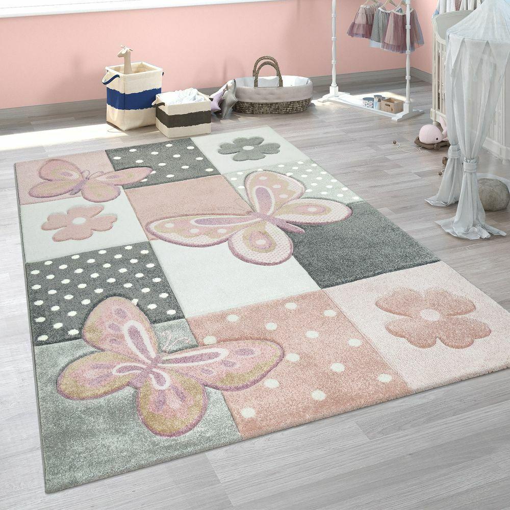 Kinder Teppich Kinderzimmer Bunt Rosa Schmetterlinge Karo Muster Punkte Blumen