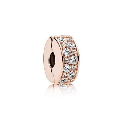 New Authentic Pandora Rose Gold Shining Elegance Clip 781817CZ