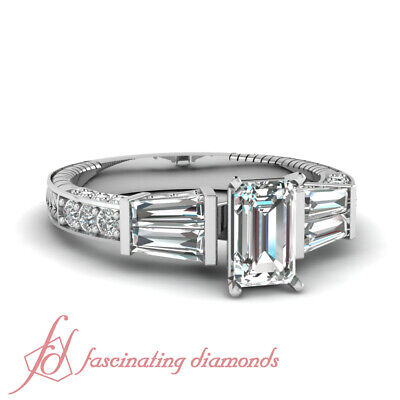 Pave Set 1.65 Ct Emerald Cut Diamond Hand Engraved Engagement Ring 14K Gold GIA