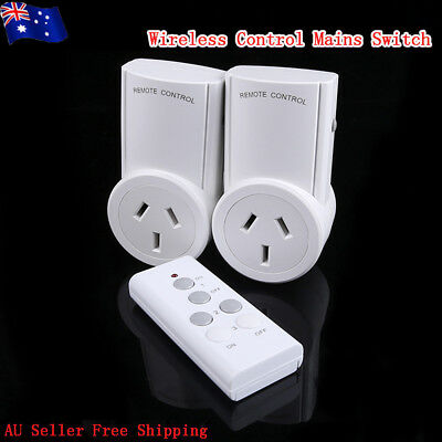Home 2 Packs Wireless Power Switch Sockets+1 Remote Controller Mains AU Plug