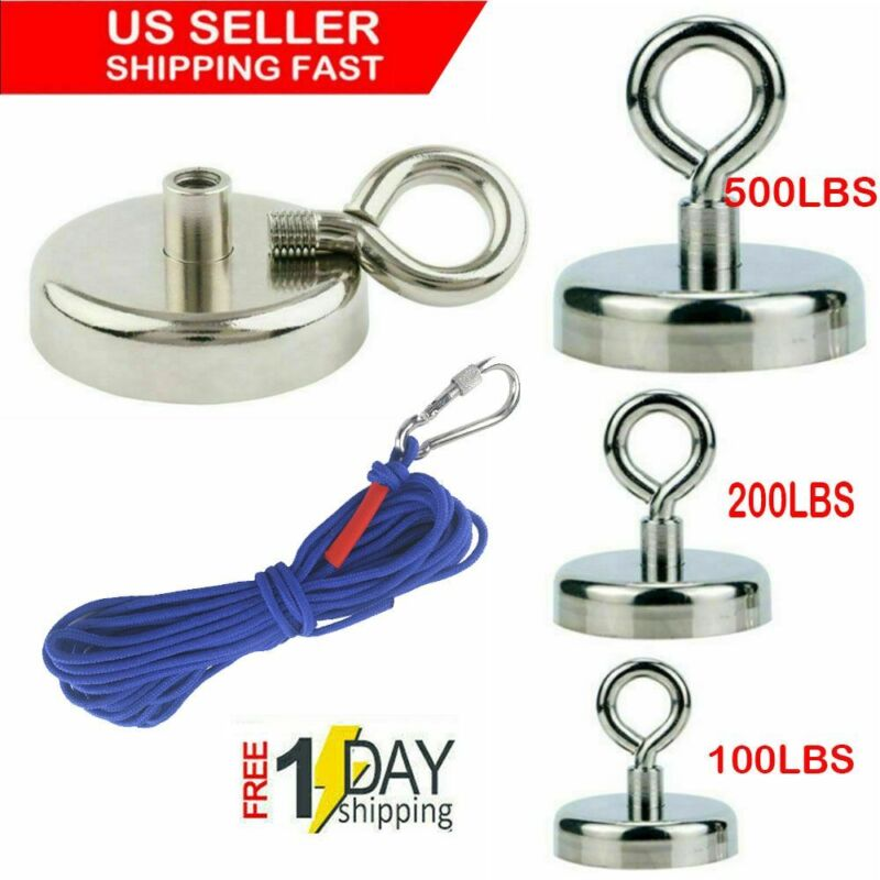US Fishing Magnet Kit Up To 500 LB Pull Force Super Strong Neodymium+10M Rope
