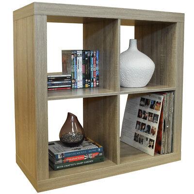4 Cubby Square Display Shelves / Vinyl LP Record Storage - Limed Oak 5119OC