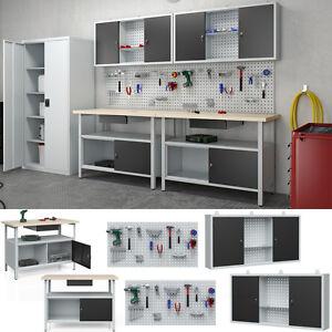 2er Set Werkstatteinrichtung Werkbank Werkzeugschrank Lochwand Hängeschrank
