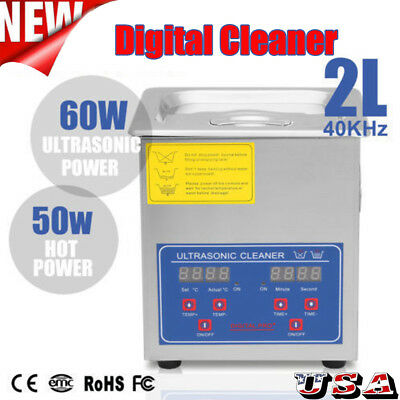 2l 60w Stainless Steel Digital Heated Industrial Ultrasonic Parts Cleaner Us