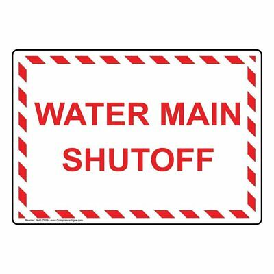 Compliancesigns Vinyl Water Main Shutoff Labels 5 X 3.50 In. With English...