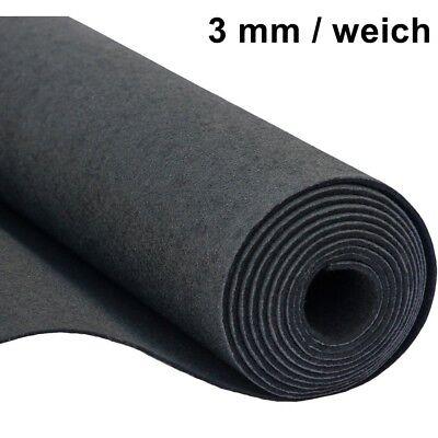 Filz Taschenfilz Basteln 0,5lfm Meterware 3mm stark 1,5m breit weich Schwarz