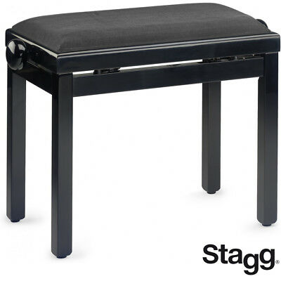 NEW Stagg PB39-BKP-VBK Highgloss Oak Piano Bench with Black Ribbed Velvet Top for sale  La Vergne