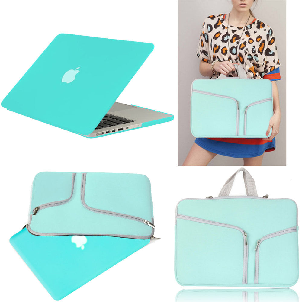 Turquoise Rubberized Case Cover + Sleeve Bag For Macbook ...