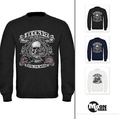 7 Sweatshirt (Sweatshirt Herren Biker Lucky 7  Totenkopf Pik Mottorrad Live to Ride Moonworks®)