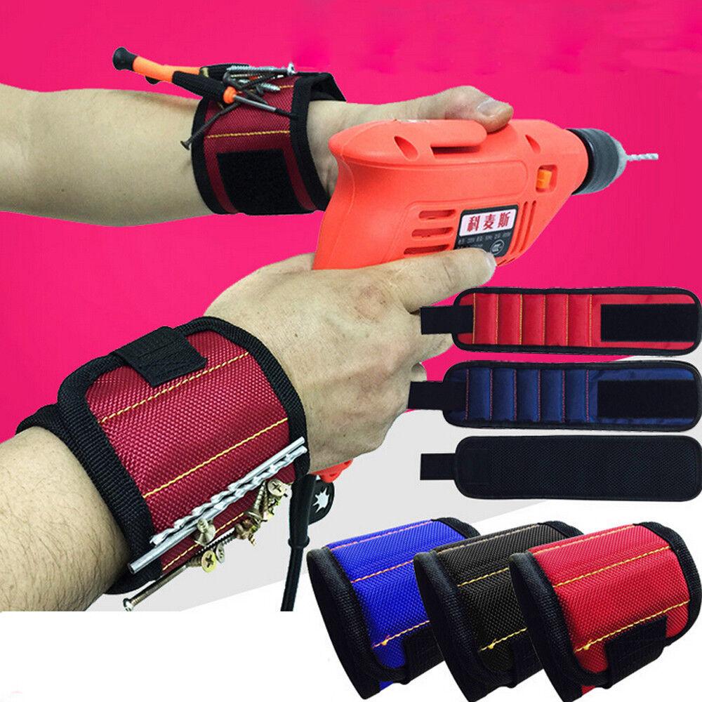 5 Magnetic Wristband Pocket Tool Belt Pouch Bag Screws Holding Working Helper