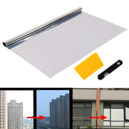 silver 20 solar reflective one way mirror window film privacy glass x 1m ebay. Black Bedroom Furniture Sets. Home Design Ideas