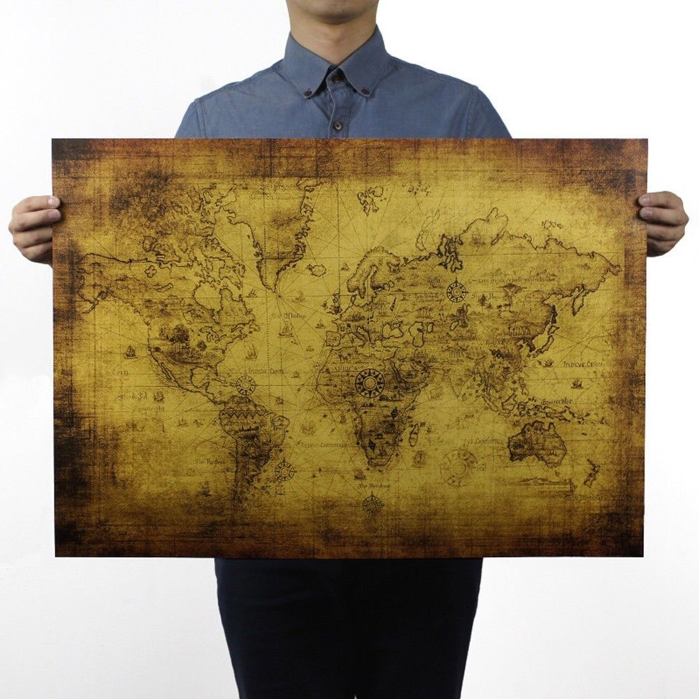 Retro world map poster home bar decortion kraft paper treasure map retro world map poster home bar decortion kraft paper treasure map creative gumiabroncs Images