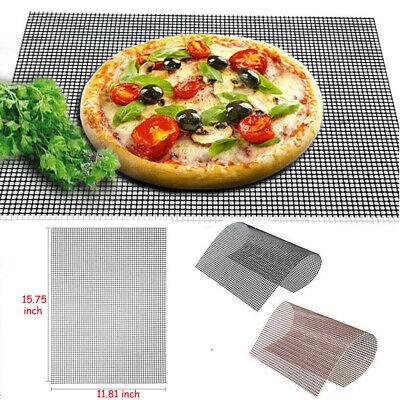 BBQ Grill Mesh Non-Stick Mat Reusable Sheet Resistant Cook Baking Barbecue D3UK