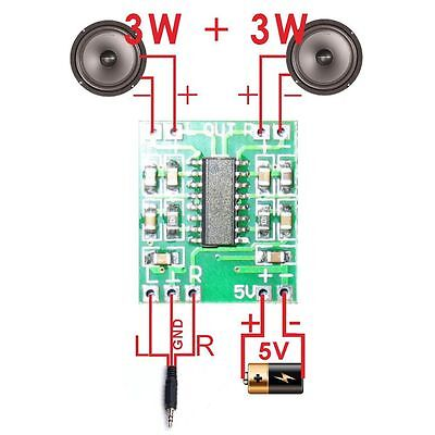 2PCS USB Audio Receiver 2.5-5V PAM8403 Class D Digital Module Amplifier Board