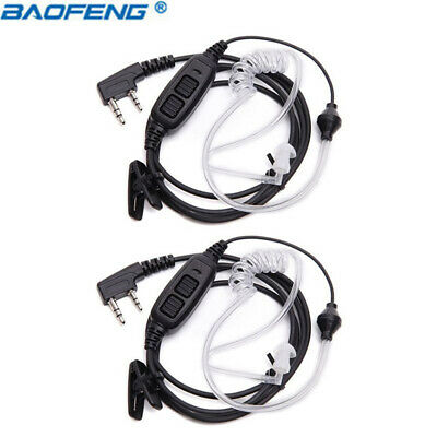 2Pack Baofeng 2-PTT Air Acoustic Tube Earpiece for UV-82  GT-5TP Two Way Radio